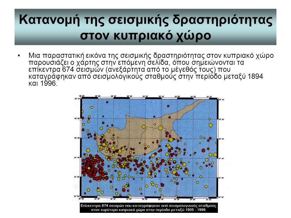 Κατανομή της σεισμικής δραστηριότητας στον κυπριακό χώρο Μια παραστατική εικόνα της σεισμικής δραστηριότητας στον κυπριακό χώρο παρουσιάζει ο χάρτης στην επόμενη σελίδα, όπου σημειώνονται τα επίκεντρα 674 σεισμών (ανεξάρτητα από το μέγεθός τους) που καταγράφηκαν από σεισμολογικούς σταθμούς στην περίοδο μεταξύ 1894 και 1996.