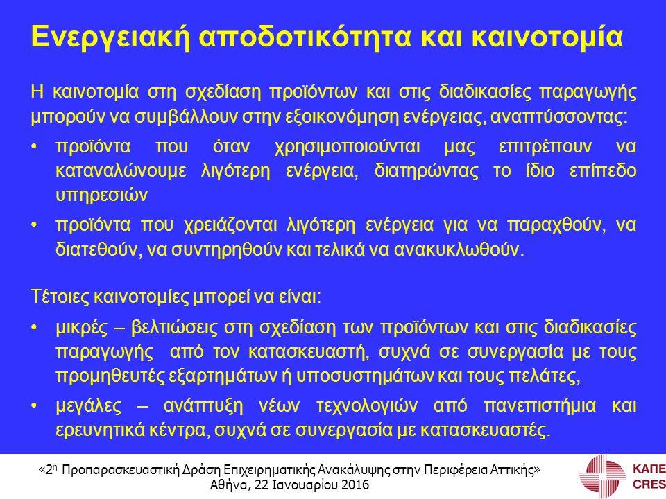 «2 η Προπαρασκευαστική Δράση Επιχειρηματικής Ανακάλυψης στην Περιφέρεια Αττικής» Αθήνα, 22 Ιανουαρίου 2016 Ενεργειακή αποδοτικότητα και καινοτομία Η καινοτομία στη σχεδίαση προϊόντων και στις διαδικασίες παραγωγής μπορούν να συμβάλλουν στην εξοικονόμηση ενέργειας, αναπτύσσοντας: προϊόντα που όταν χρησιμοποιούνται μας επιτρέπουν να καταναλώνουμε λιγότερη ενέργεια, διατηρώντας το ίδιο επίπεδο υπηρεσιών προϊόντα που χρειάζονται λιγότερη ενέργεια για να παραχθούν, να διατεθούν, να συντηρηθούν και τελικά να ανακυκλωθούν.