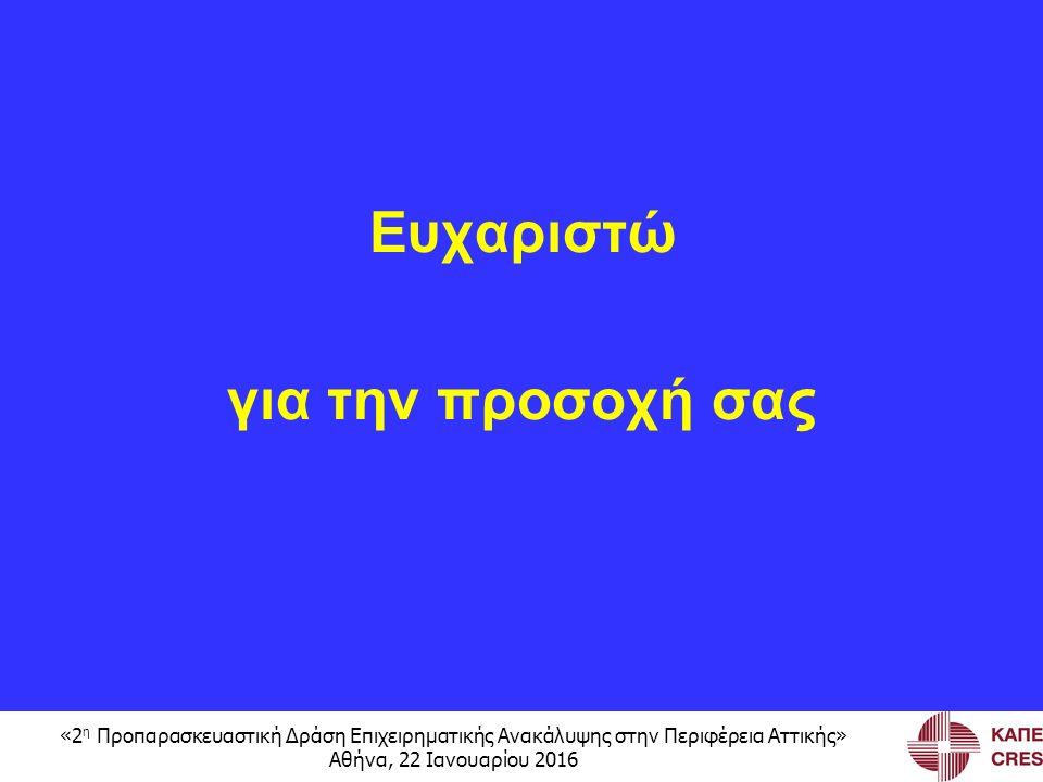 «2 η Προπαρασκευαστική Δράση Επιχειρηματικής Ανακάλυψης στην Περιφέρεια Αττικής» Αθήνα, 22 Ιανουαρίου 2016 Ευχαριστώ για την προσοχή σας
