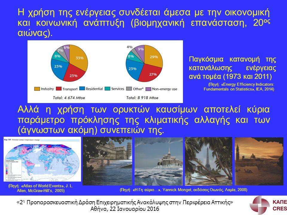 «2 η Προπαρασκευαστική Δράση Επιχειρηματικής Ανακάλυψης στην Περιφέρεια Αττικής» Αθήνα, 22 Ιανουαρίου 2016 Η χρήση της ενέργειας συνδέεται άμεσα με την οικονομική και κοινωνική ανάπτυξη (βιομηχανική επανάσταση, 20 ος αιώνας).