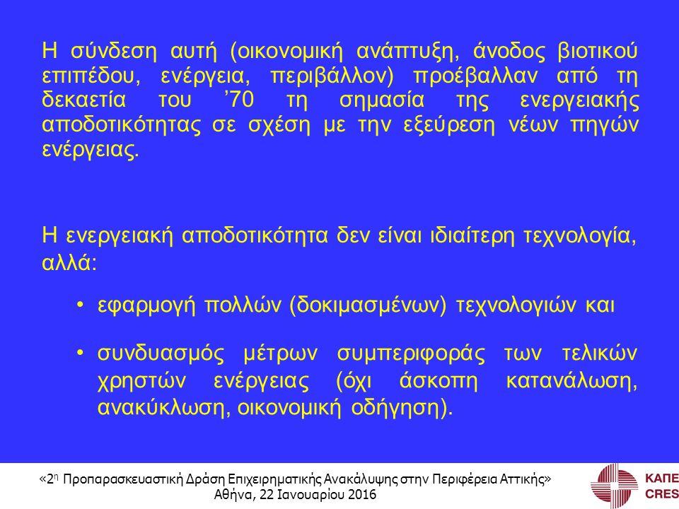 «2 η Προπαρασκευαστική Δράση Επιχειρηματικής Ανακάλυψης στην Περιφέρεια Αττικής» Αθήνα, 22 Ιανουαρίου 2016 Η σύνδεση αυτή (οικονομική ανάπτυξη, άνοδος βιοτικού επιπέδου, ενέργεια, περιβάλλον) προέβαλλαν από τη δεκαετία του '70 τη σημασία της ενεργειακής αποδοτικότητας σε σχέση με την εξεύρεση νέων πηγών ενέργειας.