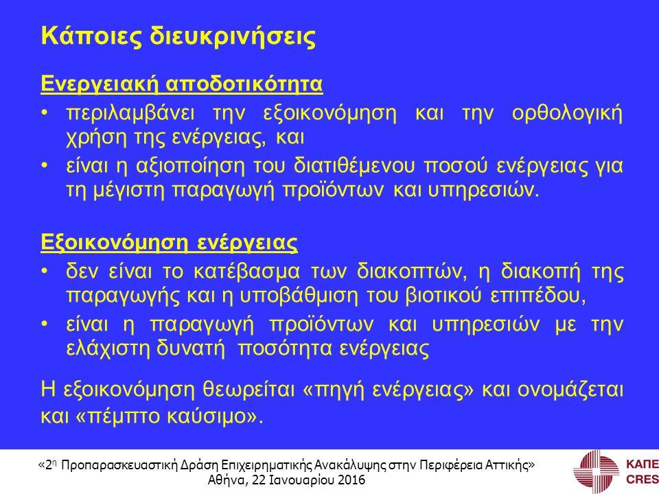 «2 η Προπαρασκευαστική Δράση Επιχειρηματικής Ανακάλυψης στην Περιφέρεια Αττικής» Αθήνα, 22 Ιανουαρίου 2016 Κάποιες διευκρινήσεις Ενεργειακή αποδοτικότητα περιλαμβάνει την εξοικονόμηση και την ορθολογική χρήση της ενέργειας, και είναι η αξιοποίηση του διατιθέμενου ποσού ενέργειας για τη μέγιστη παραγωγή προϊόντων και υπηρεσιών.