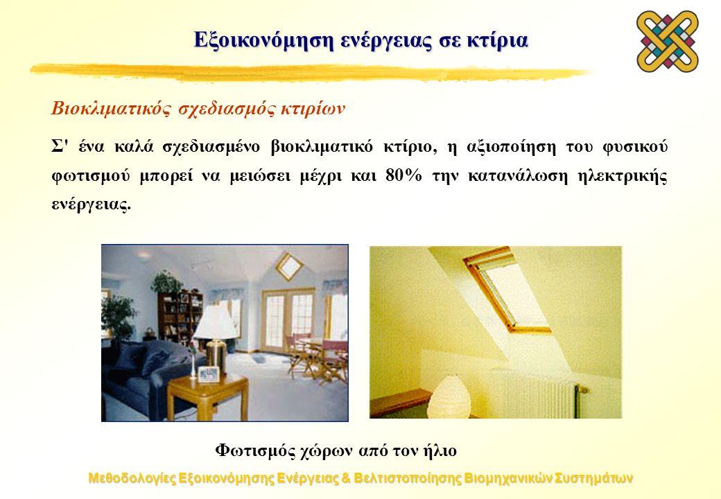 Μεθοδολογίες Εξοικονόμησης Ενέργειας & Βελτιστοποίησης Βιομηχανικών Συστημάτων Εξοικονόμηση ενέργειας σε κτίρια Βιοκλιματικός σχεδιασμός κτιρίων Σ ένα καλά σχεδιασμένο βιοκλιματικό κτίριο, η αξιοποίηση του φυσικού φωτισμού μπορεί να μειώσει μέχρι και 80% την κατανάλωση ηλεκτρικής ενέργειας.