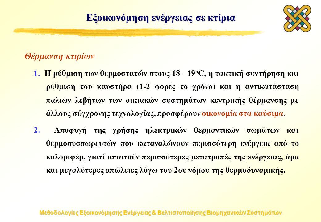 Μεθοδολογίες Εξοικονόμησης Ενέργειας & Βελτιστοποίησης Βιομηχανικών Συστημάτων Εξοικονόμηση ενέργειας σε κτίρια Θέρμανση κτιρίων 1.