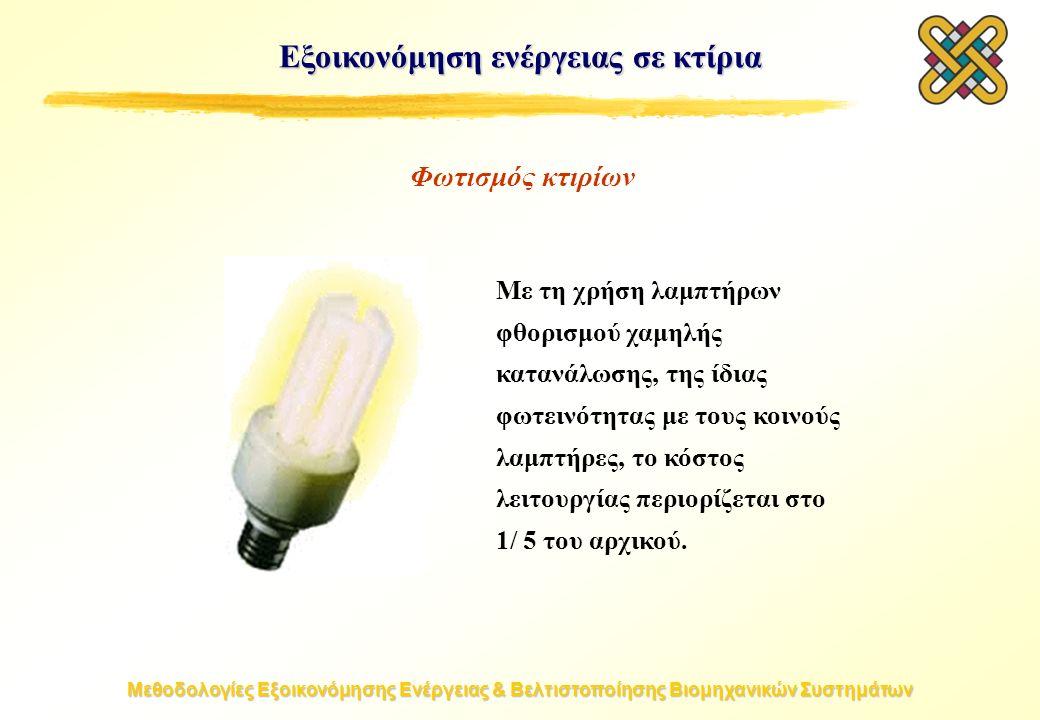 Μεθοδολογίες Εξοικονόμησης Ενέργειας & Βελτιστοποίησης Βιομηχανικών Συστημάτων Εξοικονόμηση ενέργειας σε κτίρια Με τη χρήση λαμπτήρων φθορισμού χαμηλής κατανάλωσης, της ίδιας φωτεινότητας με τους κοινούς λαμπτήρες, το κόστος λειτουργίας περιορίζεται στο 1/ 5 του αρχικού.
