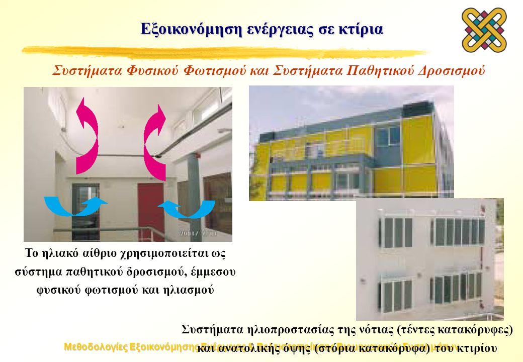 Μεθοδολογίες Εξοικονόμησης Ενέργειας & Βελτιστοποίησης Βιομηχανικών Συστημάτων Εξοικονόμηση ενέργειας σε κτίρια Το ηλιακό αίθριο χρησιμοποιείται ως σύστημα παθητικού δροσισμού, έμμεσου φυσικού φωτισμού και ηλιασμού Συστήματα ηλιοπροστασίας της νότιας (τέντες κατακόρυφες) και ανατολικής όψης (στόρια κατακόρυφα) του κτιρίου Συστήματα Φυσικού Φωτισμού και Συστήματα Παθητικού Δροσισμού