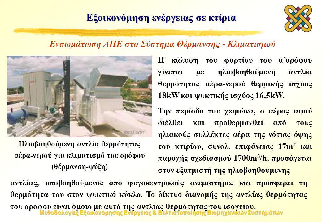 Μεθοδολογίες Εξοικονόμησης Ενέργειας & Βελτιστοποίησης Βιομηχανικών Συστημάτων Εξοικονόμηση ενέργειας σε κτίρια Ηλιοβοηθούμενη αντλία θερμότητας αέρα-νερού για κλιματισμό του ορόφου (θέρμανση-ψύξη) Ενσωμάτωση ΑΠΕ στο Σύστημα Θέρμανσης - Κλιματισμού Η κάλυψη του φορτίου του α΄ορόφου γίνεται με ηλιοβοηθούμενη αντλία θερμότητας αέρα-νερού θερμικής ισχύος 18kW και ψυκτικής ισχύος 16,5kW.