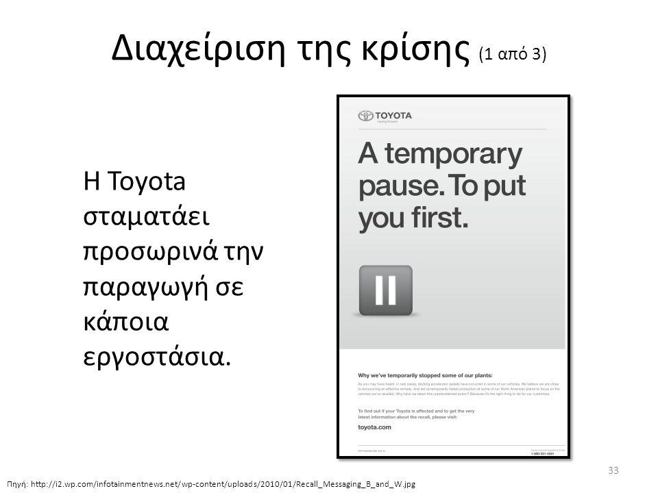 Διαχείριση της κρίσης (1 από 3) H Toyota σταματάει προσωρινά την παραγωγή σε κάποια εργοστάσια.