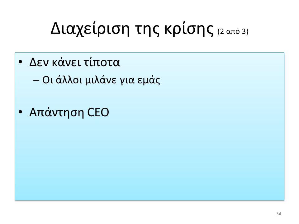 Διαχείριση της κρίσης (2 από 3) Δεν κάνει τίποτα – Οι άλλοι μιλάνε για εμάς Απάντηση CEO Δεν κάνει τίποτα – Οι άλλοι μιλάνε για εμάς Απάντηση CEO 34