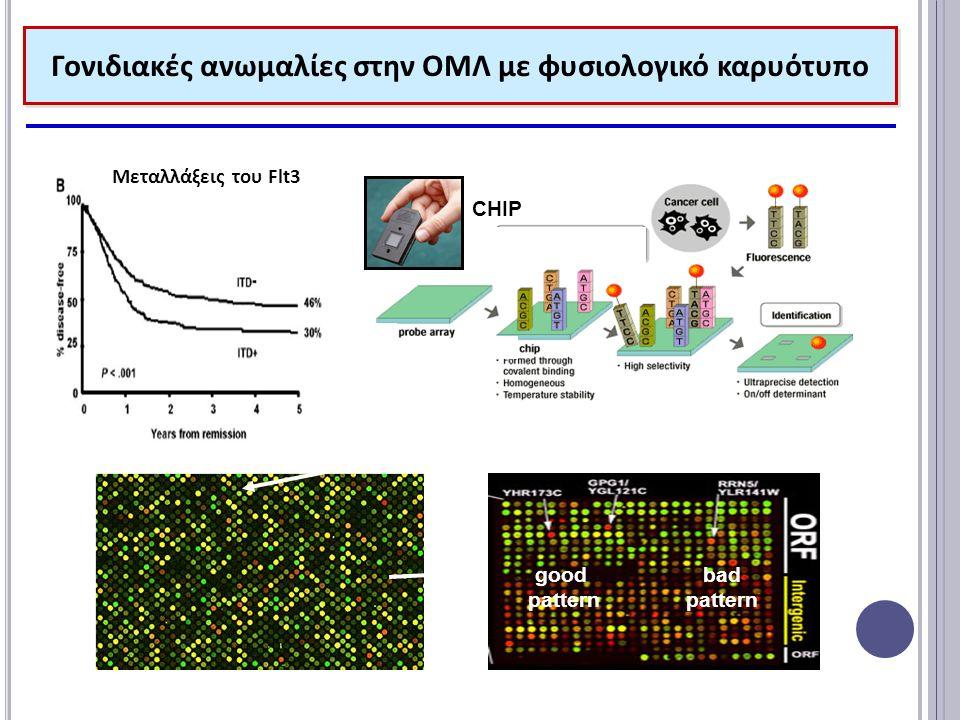 Γονιδιακές ανωμαλίες στην ΟΜΛ με φυσιολογικό καρυότυπο Μεταλλάξεις του Flt3 Ελεγχος ενός γονιδίου Ελεγχος πολλών γονιδίου CHIP microarray analysis expression patterns good pattern bad pattern