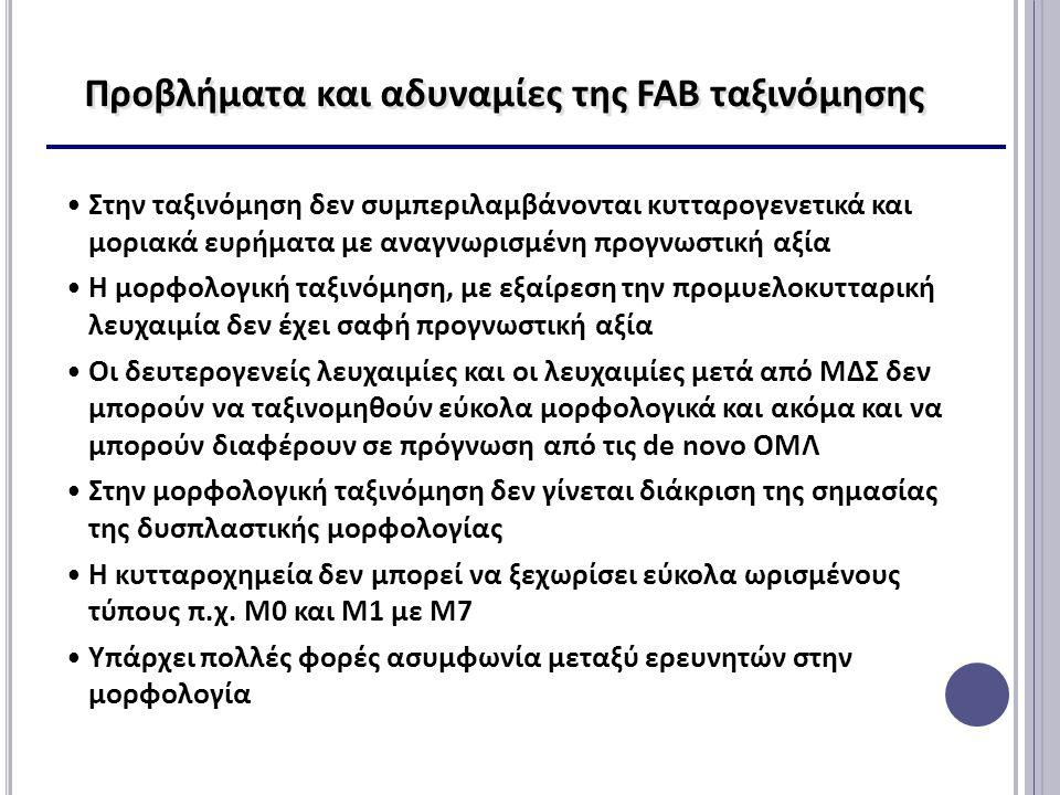 Προβλήματα και αδυναμίες της FAB ταξινόμησης Στην ταξινόμηση δεν συμπεριλαμβάνονται κυτταρογενετικά και μοριακά ευρήματα με αναγνωρισμένη προγνωστική αξία Η μορφολογική ταξινόμηση, με εξαίρεση την προμυελοκυτταρική λευχαιμία δεν έχει σαφή προγνωστική αξία Οι δευτερογενείς λευχαιμίες και οι λευχαιμίες μετά από ΜΔΣ δεν μπορούν να ταξινομηθούν εύκολα μορφολογικά και ακόμα και να μπορούν διαφέρουν σε πρόγνωση από τις de novo ΟΜΛ Στην μορφολογική ταξινόμηση δεν γίνεται διάκριση της σημασίας της δυσπλαστικής μορφολογίας Η κυτταροχημεία δεν μπορεί να ξεχωρίσει εύκολα ωρισμένους τύπους π.χ.