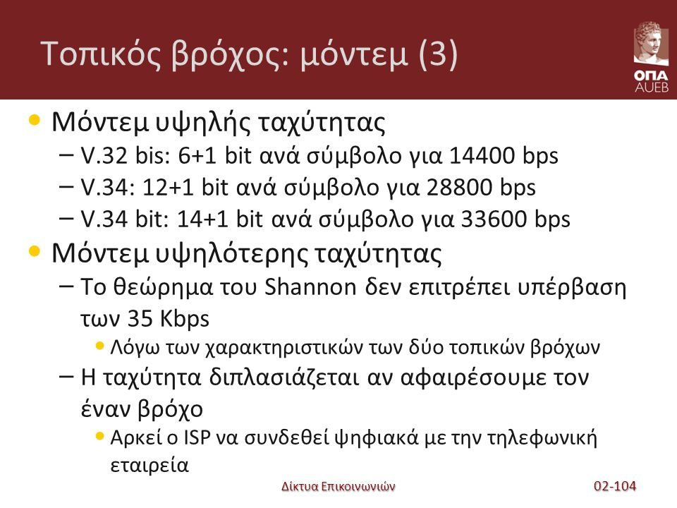 Δίκτυα Επικοινωνιών Τοπικός βρόχος: μόντεμ (3) Μόντεμ υψηλής ταχύτητας – V.32 bis: 6+1 bit ανά σύμβολο για 14400 bps – V.34: 12+1 bit ανά σύμβολο για 28800 bps – V.34 bit: 14+1 bit ανά σύμβολο για 33600 bps Μόντεμ υψηλότερης ταχύτητας – Το θεώρημα του Shannon δεν επιτρέπει υπέρβαση των 35 Kbps Λόγω των χαρακτηριστικών των δύο τοπικών βρόχων – Η ταχύτητα διπλασιάζεται αν αφαιρέσουμε τον έναν βρόχο Αρκεί ο ISP να συνδεθεί ψηφιακά με την τηλεφωνική εταιρεία 02-104