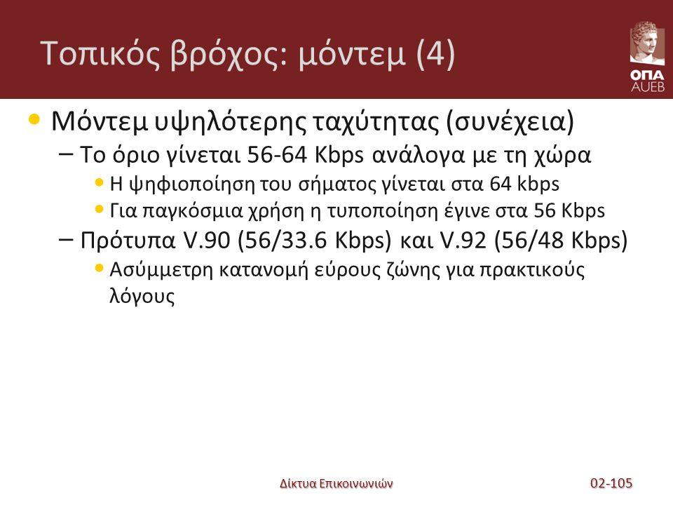 Δίκτυα Επικοινωνιών Τοπικός βρόχος: μόντεμ (4) Μόντεμ υψηλότερης ταχύτητας (συνέχεια) – Το όριο γίνεται 56-64 Kbps ανάλογα με τη χώρα Η ψηφιοποίηση του σήματος γίνεται στα 64 kbps Για παγκόσμια χρήση η τυποποίηση έγινε στα 56 Kbps – Πρότυπα V.90 (56/33.6 Kbps) και V.92 (56/48 Kbps) Ασύμμετρη κατανομή εύρους ζώνης για πρακτικούς λόγους 02-105