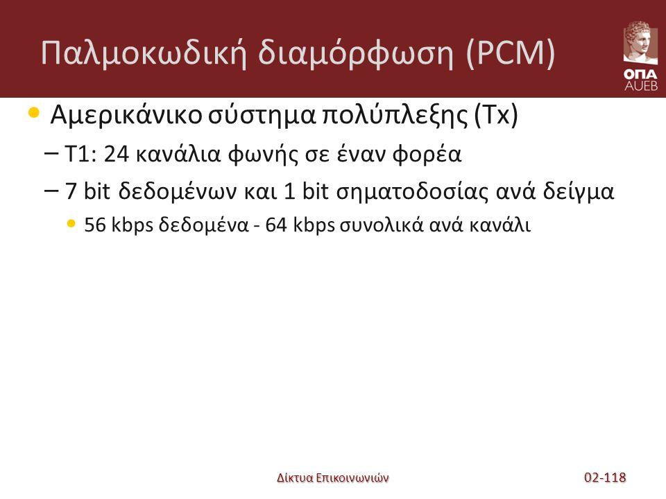 Δίκτυα Επικοινωνιών Παλμοκωδική διαμόρφωση (PCM) Αμερικάνικο σύστημα πολύπλεξης (Tx) – T1: 24 κανάλια φωνής σε έναν φορέα – 7 bit δεδομένων και 1 bit σηματοδοσίας ανά δείγμα 56 kbps δεδομένα - 64 kbps συνολικά ανά κανάλι 02-118