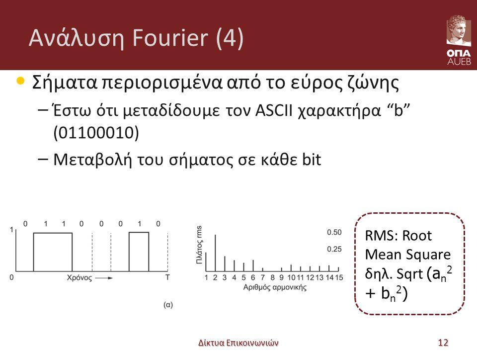 Ανάλυση Fourier (4) Σήματα περιορισμένα από το εύρος ζώνης – Έστω ότι μεταδίδουμε τον ASCII χαρακτήρα b (01100010) – Μεταβολή του σήματος σε κάθε bit Δίκτυα Επικοινωνιών 12 RMS: Root Mean Square δηλ.