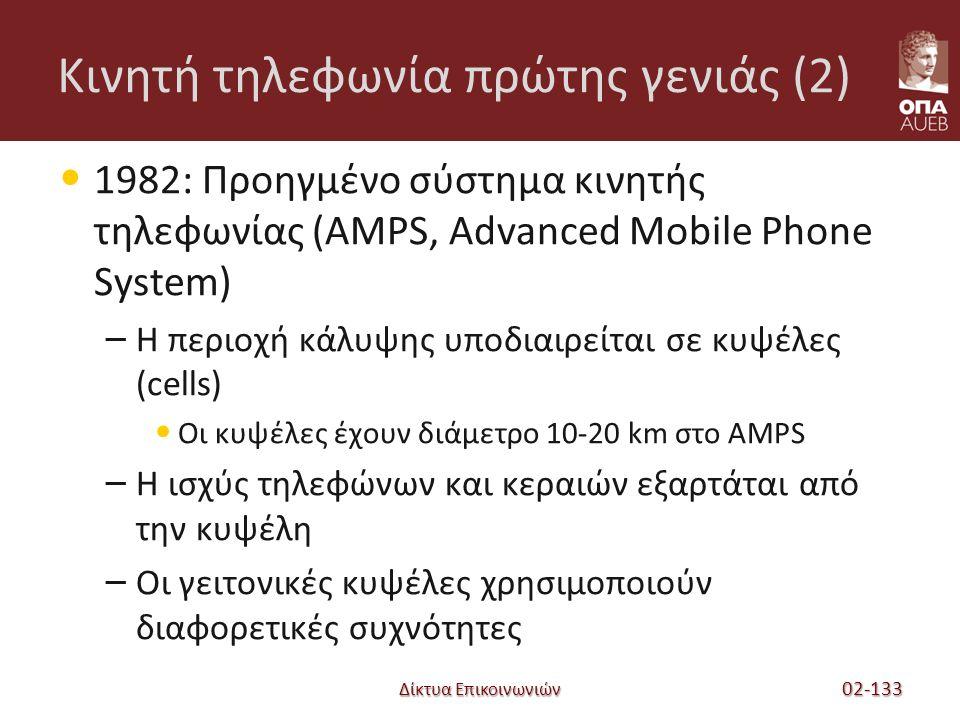 Δίκτυα Επικοινωνιών Κινητή τηλεφωνία πρώτης γενιάς (2) 1982: Προηγμένο σύστημα κινητής τηλεφωνίας (AMPS, Advanced Mobile Phone System) – Η περιοχή κάλυψης υποδιαιρείται σε κυψέλες (cells) Οι κυψέλες έχουν διάμετρο 10-20 km στο AMPS – Η ισχύς τηλεφώνων και κεραιών εξαρτάται από την κυψέλη – Οι γειτονικές κυψέλες χρησιμοποιούν διαφορετικές συχνότητες 02-133