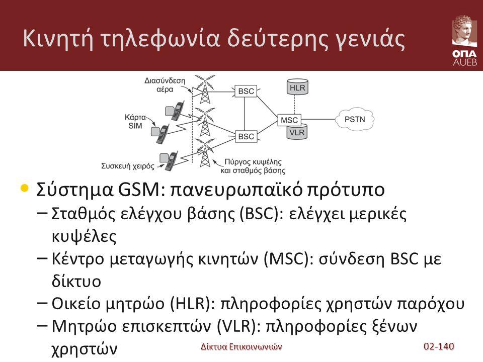 Δίκτυα Επικοινωνιών Κινητή τηλεφωνία δεύτερης γενιάς Σύστημα GSM: πανευρωπαϊκό πρότυπο – Σταθμός ελέγχου βάσης (BSC): ελέγχει μερικές κυψέλες – Κέντρο μεταγωγής κινητών (MSC): σύνδεση BSC με δίκτυο – Οικείο μητρώο (HLR): πληροφορίες χρηστών παρόχου – Μητρώο επισκεπτών (VLR): πληροφορίες ξένων χρηστών 02-140