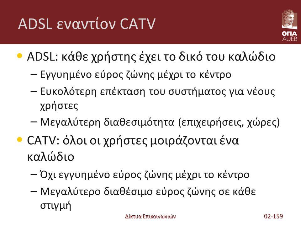 Δίκτυα Επικοινωνιών ADSL εναντίον CATV ADSL: κάθε χρήστης έχει το δικό του καλώδιο – Εγγυημένο εύρος ζώνης μέχρι το κέντρο – Ευκολότερη επέκταση του συστήματος για νέους χρήστες – Μεγαλύτερη διαθεσιμότητα (επιχειρήσεις, χώρες) CATV: όλοι οι χρήστες μοιράζονται ένα καλώδιο – Όχι εγγυημένο εύρος ζώνης μέχρι το κέντρο – Μεγαλύτερο διαθέσιμο εύρος ζώνης σε κάθε στιγμή 02-159