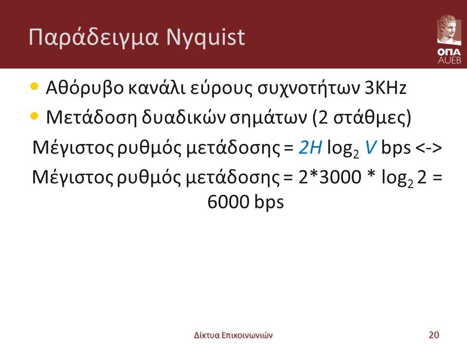 Παράδειγμα Nyquist Αθόρυβο κανάλι εύρους συχνοτήτων 3KHz Μετάδοση δυαδικών σημάτων (2 στάθμες) Μέγιστος ρυθμός μετάδοσης = 2H log 2 V bps Μέγιστος ρυθμός μετάδοσης = 2*3000 * log 2 2 = 6000 bps Δίκτυα Επικοινωνιών 20