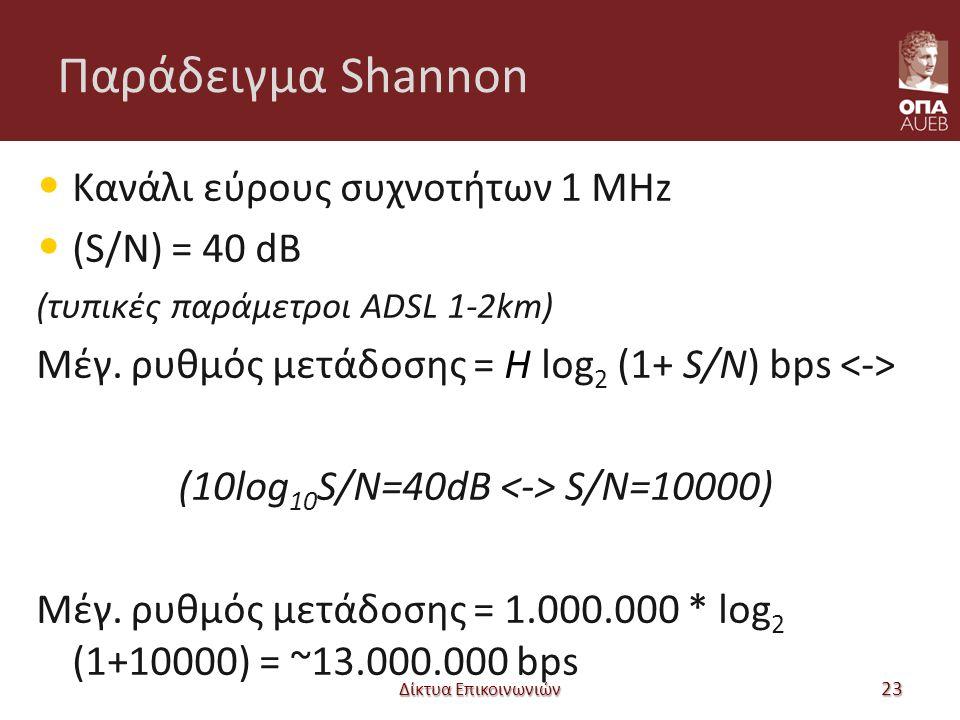 Παράδειγμα Shannon Δίκτυα Επικοινωνιών 23 Κανάλι εύρους συχνοτήτων 1 MHz (S/N) = 40 dB (τυπικές παράμετροι ADSL 1-2km) Μέγ.