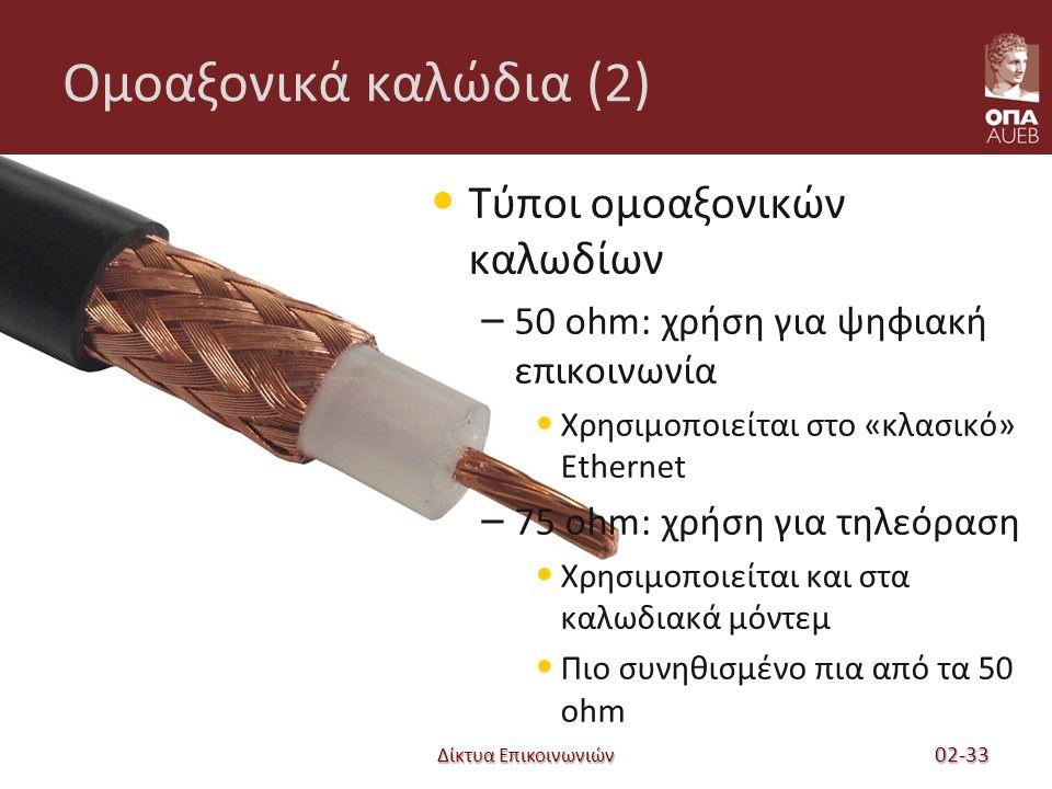 Δίκτυα Επικοινωνιών Ομοαξονικά καλώδια (2) Τύποι ομοαξονικών καλωδίων – 50 ohm: χρήση για ψηφιακή επικοινωνία Χρησιμοποιείται στο «κλασικό» Ethernet – 75 ohm: χρήση για τηλεόραση Χρησιμοποιείται και στα καλωδιακά μόντεμ Πιο συνηθισμένο πια από τα 50 ohm 02-33