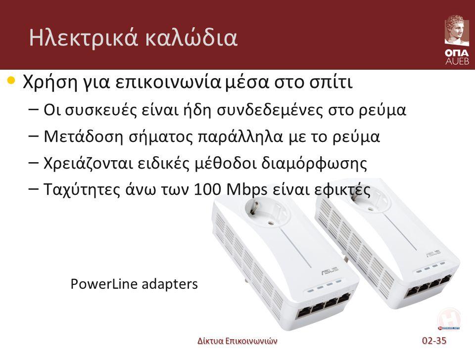 Ηλεκτρικά καλώδια Χρήση για επικοινωνία μέσα στο σπίτι – Οι συσκευές είναι ήδη συνδεδεμένες στο ρεύμα – Μετάδοση σήματος παράλληλα με το ρεύμα – Χρειάζονται ειδικές μέθοδοι διαμόρφωσης – Ταχύτητες άνω των 100 Mbps είναι εφικτές Δίκτυα Επικοινωνιών 02-35 PowerLine adapters