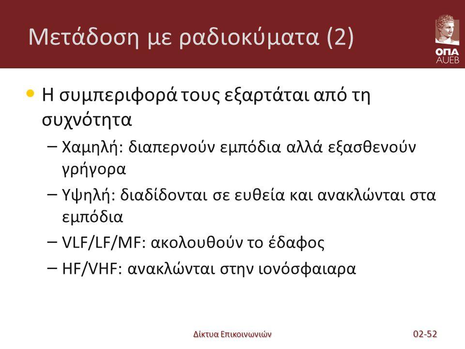Δίκτυα Επικοινωνιών Μετάδοση με ραδιοκύματα (2) Η συμπεριφορά τους εξαρτάται από τη συχνότητα – Χαμηλή: διαπερνούν εμπόδια αλλά εξασθενούν γρήγορα – Υψηλή: διαδίδονται σε ευθεία και ανακλώνται στα εμπόδια – VLF/LF/MF: ακολουθούν το έδαφος – HF/VHF: ανακλώνται στην ιονόσφαιαρα 02-52