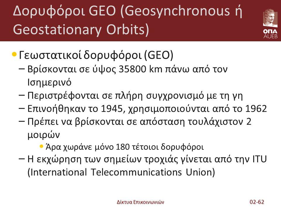Δίκτυα Επικοινωνιών Δορυφόροι GEO (Geosynchronous ή Geostationary Orbits) Γεωστατικοί δορυφόροι (GEO) – Βρίσκονται σε ύψος 35800 km πάνω από τον Ισημερινό – Περιστρέφονται σε πλήρη συγχρονισμό με τη γη – Επινοήθηκαν το 1945, χρησιμοποιούνται από το 1962 – Πρέπει να βρίσκονται σε απόσταση τουλάχιστον 2 μοιρών Άρα χωράνε μόνο 180 τέτοιοι δορυφόροι – Η εκχώρηση των σημείων τροχιάς γίνεται από την ITU (International Telecommunications Union) 02-62