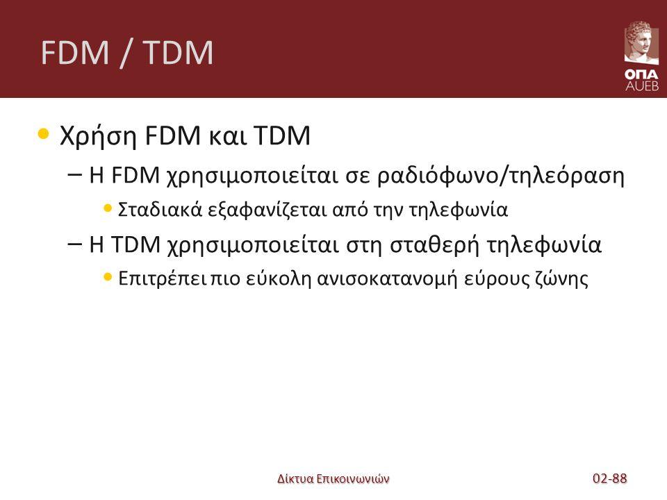 Δίκτυα Επικοινωνιών FDM / TDM Χρήση FDM και TDM – Η FDM χρησιμοποιείται σε ραδιόφωνο/τηλεόραση Σταδιακά εξαφανίζεται από την τηλεφωνία – Η TDM χρησιμοποιείται στη σταθερή τηλεφωνία Επιτρέπει πιο εύκολη ανισοκατανομή εύρους ζώνης 02-88