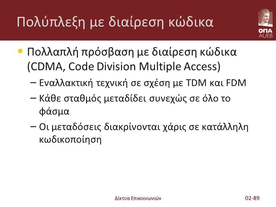 Δίκτυα Επικοινωνιών Πολύπλεξη με διαίρεση κώδικα Πολλαπλή πρόσβαση με διαίρεση κώδικα (CDMA, Code Division Multiple Access) – Εναλλακτική τεχνική σε σχέση με TDM και FDM – Κάθε σταθμός μεταδίδει συνεχώς σε όλο το φάσμα – Οι μεταδόσεις διακρίνονται χάρις σε κατάλληλη κωδικοποίηση 02-89