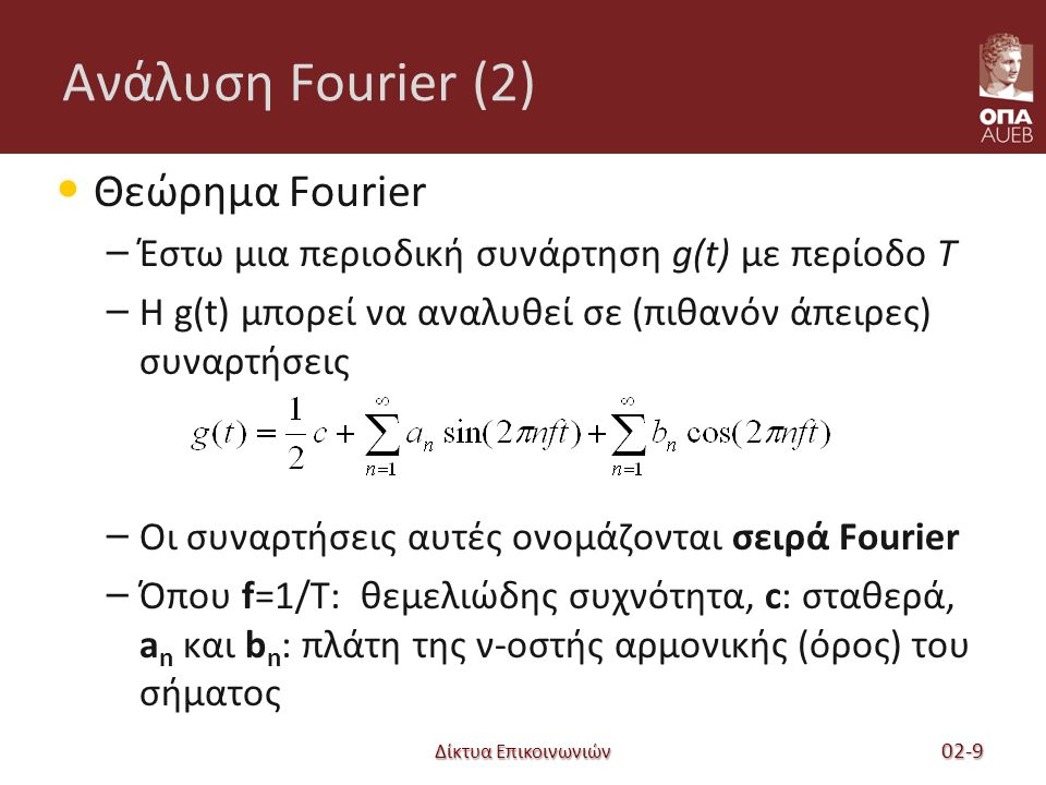 Δίκτυα Επικοινωνιών Ανάλυση Fourier (2) Θεώρημα Fourier – Έστω μια περιοδική συνάρτηση g(t) με περίοδο T – Η g(t) μπορεί να αναλυθεί σε (πιθανόν άπειρες) συναρτήσεις – Οι συναρτήσεις αυτές ονομάζονται σειρά Fourier – Όπου f=1/T: θεμελιώδης συχνότητα, c: σταθερά, a n και b n : πλάτη της ν-οστής αρμονικής (όρος) του σήματος 02-9