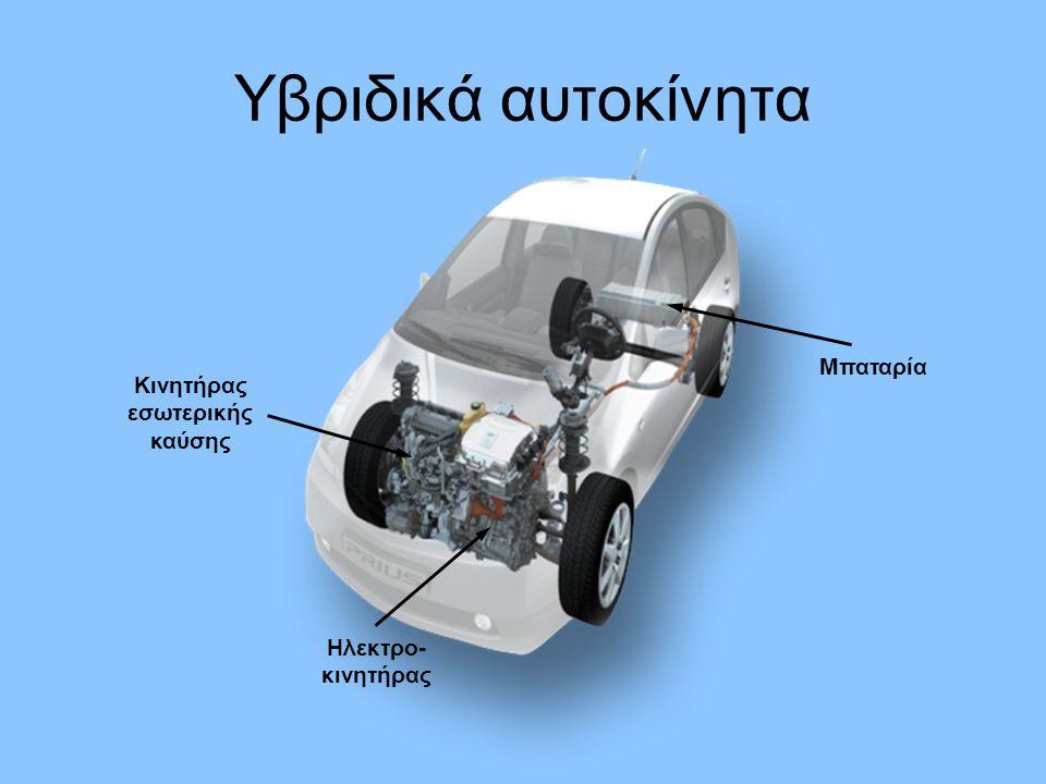 Υβριδικά αυτοκίνητα Μπαταρία Ηλεκτρο- κινητήρας Κινητήρας εσωτερικής καύσης