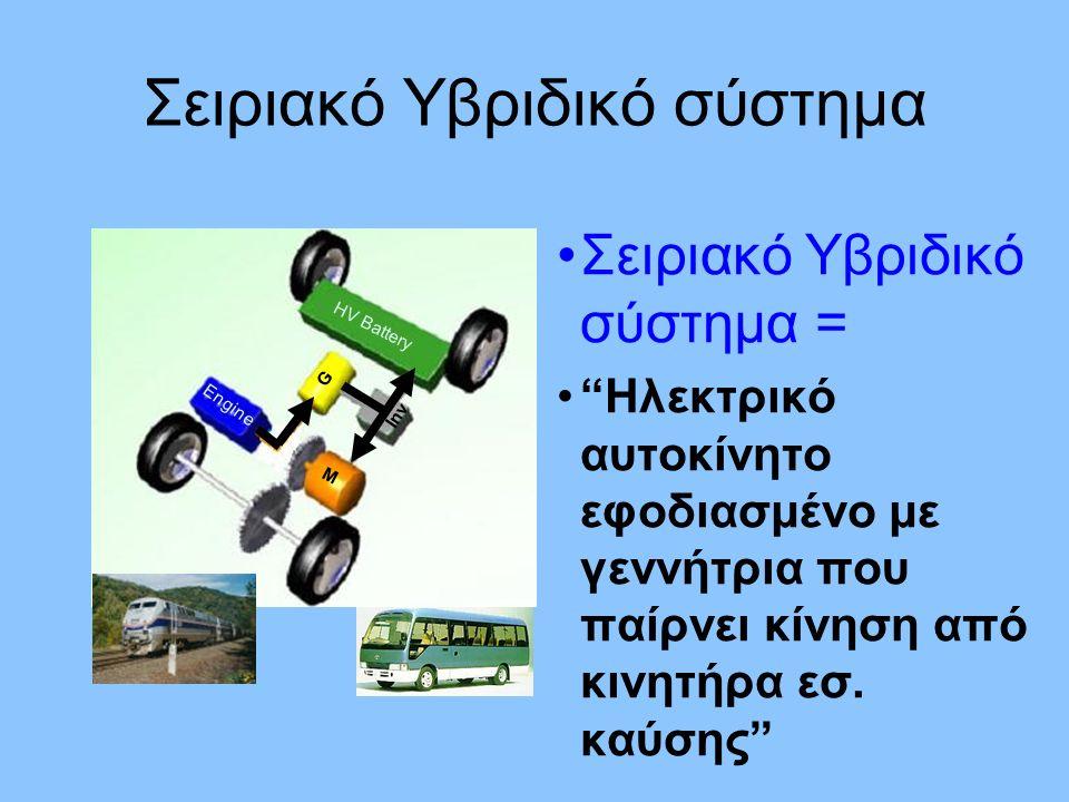 Σειριακό Υβριδικό σύστημα = Ηλεκτρικό αυτοκίνητο εφοδιασμένο με γεννήτρια που παίρνει κίνηση από κινητήρα εσ.