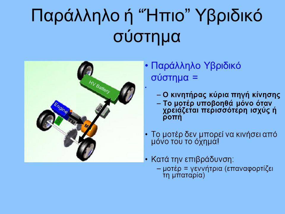 Παράλληλο Υβριδικό σύστημα = –Ο κινητήρας κύρια πηγή κίνησης –Το μοτέρ υποβοηθά μόνο όταν χρειάζεται περισσότερη ισχύς ή ροπή Το μοτέρ δεν μπορεί να κινήσει από μόνο του το όχημα.