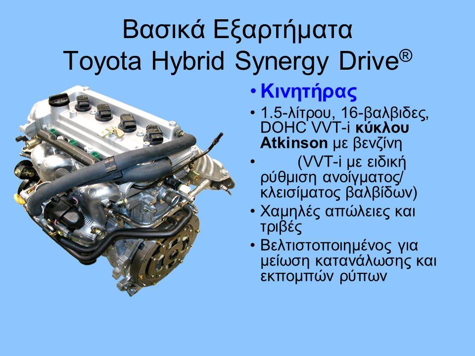 Κινητήρας 1.5-λίτρου, 16-βαλβιδες, DOHC VVT-i κύκλου Atkinson με βενζίνη (VVT-i με ειδική ρύθμιση ανοίγματος/ κλεισίματος βαλβίδων) Χαμηλές απώλειες και τριβές Βελτιστοποιημένος για μείωση κατανάλωσης και εκπομπών ρύπων Βασικά Εξαρτήματα Toyota Hybrid Synergy Drive ®
