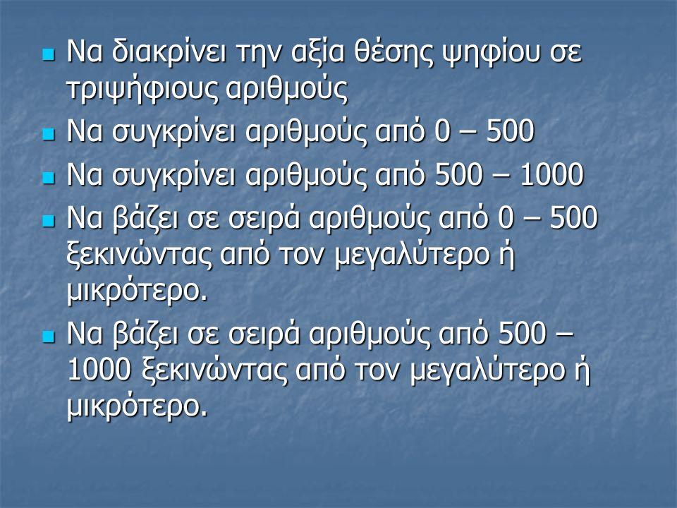 Να διακρίνει την αξία θέσης ψηφίου σε τριψήφιους αριθμούς Να διακρίνει την αξία θέσης ψηφίου σε τριψήφιους αριθμούς Να συγκρίνει αριθμούς από 0 – 500 Να συγκρίνει αριθμούς από 0 – 500 Να συγκρίνει αριθμούς από 500 – 1000 Να συγκρίνει αριθμούς από 500 – 1000 Να βάζει σε σειρά αριθμούς από 0 – 500 ξεκινώντας από τον μεγαλύτερο ή μικρότερο.