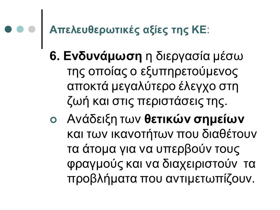 Απελευθερωτικές αξίες της ΚΕ: 6. Ενδυνάμωση η διεργασία μέσω της οποίας ο εξυπηρετούμενος αποκτά μεγαλύτερο έλεγχο στη ζωή και στις περιστάσεις της. Α