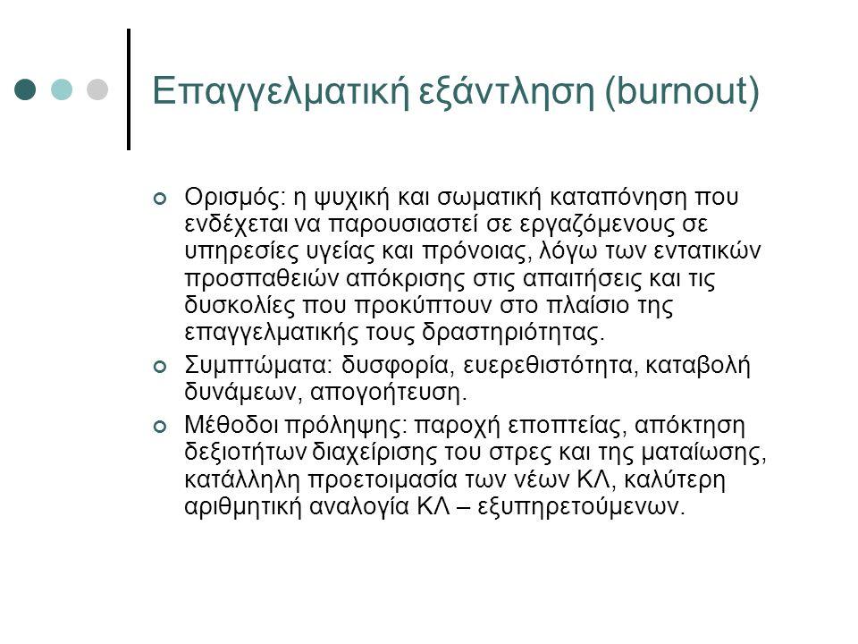 Επαγγελματική εξάντληση (burnout) Ορισμός: η ψυχική και σωματική καταπόνηση που ενδέχεται να παρουσιαστεί σε εργαζόμενους σε υπηρεσίες υγείας και πρόνοιας, λόγω των εντατικών προσπαθειών απόκρισης στις απαιτήσεις και τις δυσκολίες που προκύπτουν στο πλαίσιο της επαγγελματικής τους δραστηριότητας.