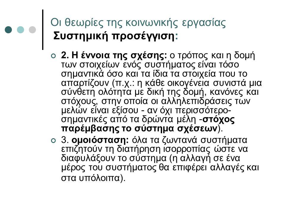 Οι θεωρίες της κοινωνικής εργασίας Συστημική προσέγγιση: 2.