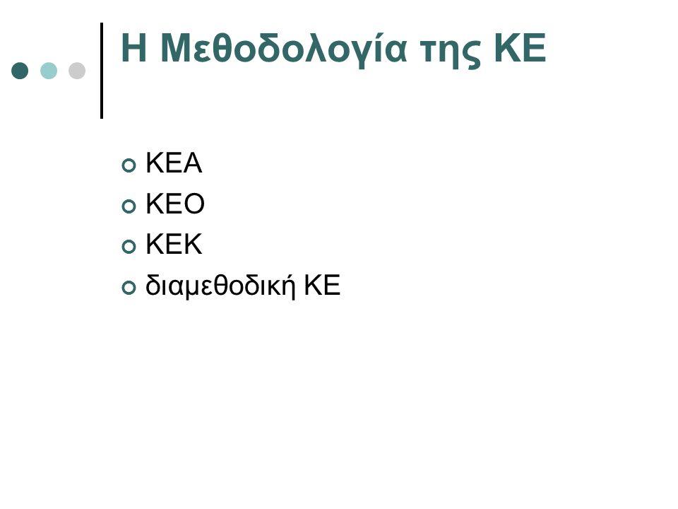 Η Μεθοδολογία της ΚΕ ΚΕΑ ΚΕΟ ΚΕΚ διαμεθοδική ΚΕ