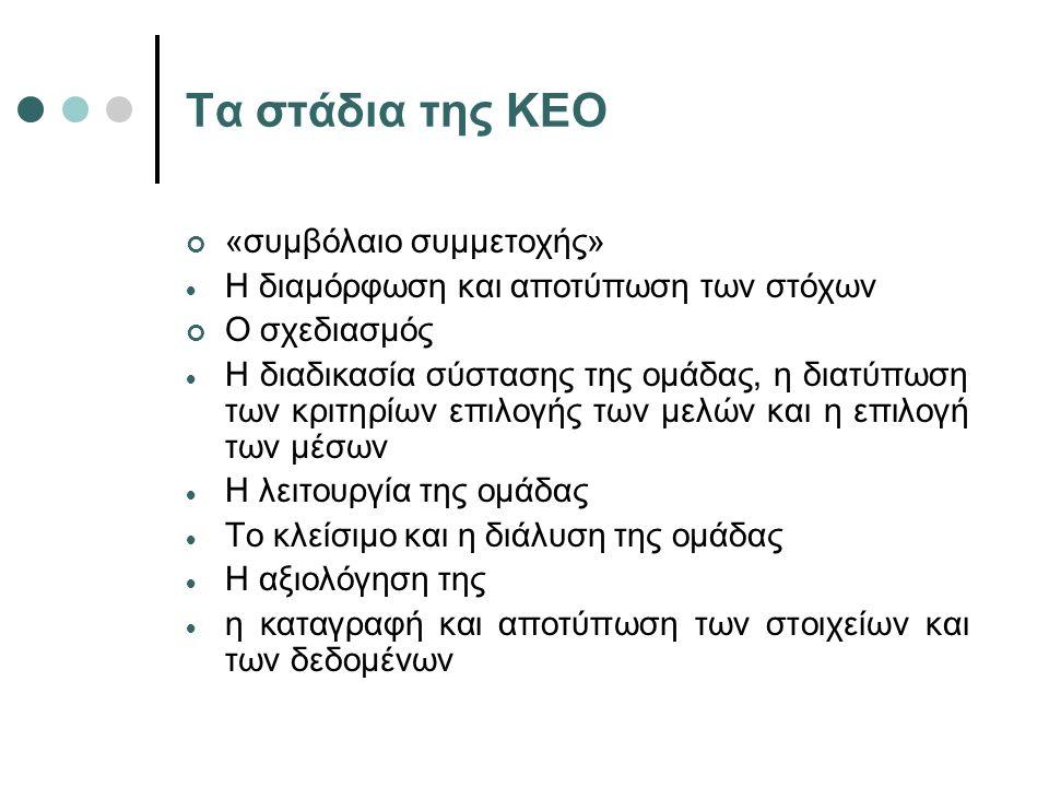 Τα στάδια της ΚΕΟ «συμβόλαιο συμμετοχής»  Η διαμόρφωση και αποτύπωση των στόχων Ο σχεδιασμός  Η διαδικασία σύστασης της ομάδας, η διατύπωση των κριτ