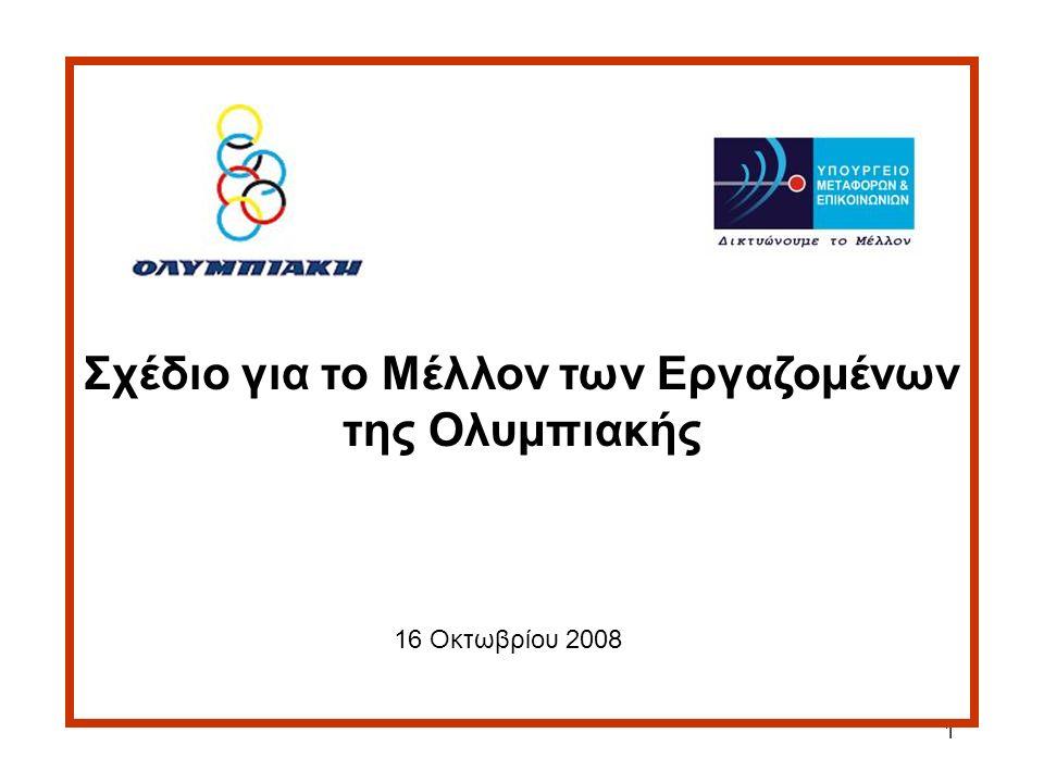 2 Στόχοι: 1.Πλήρης κάλυψη των εργαζομένων 2.Τέρμα στη διαρκή παραγωγή ελλειμμάτων από την εταιρεία Το πακέτο μέτρων ισοδυναμεί με το έλλειμμα 3 χρόνων της Ολυμπιακής