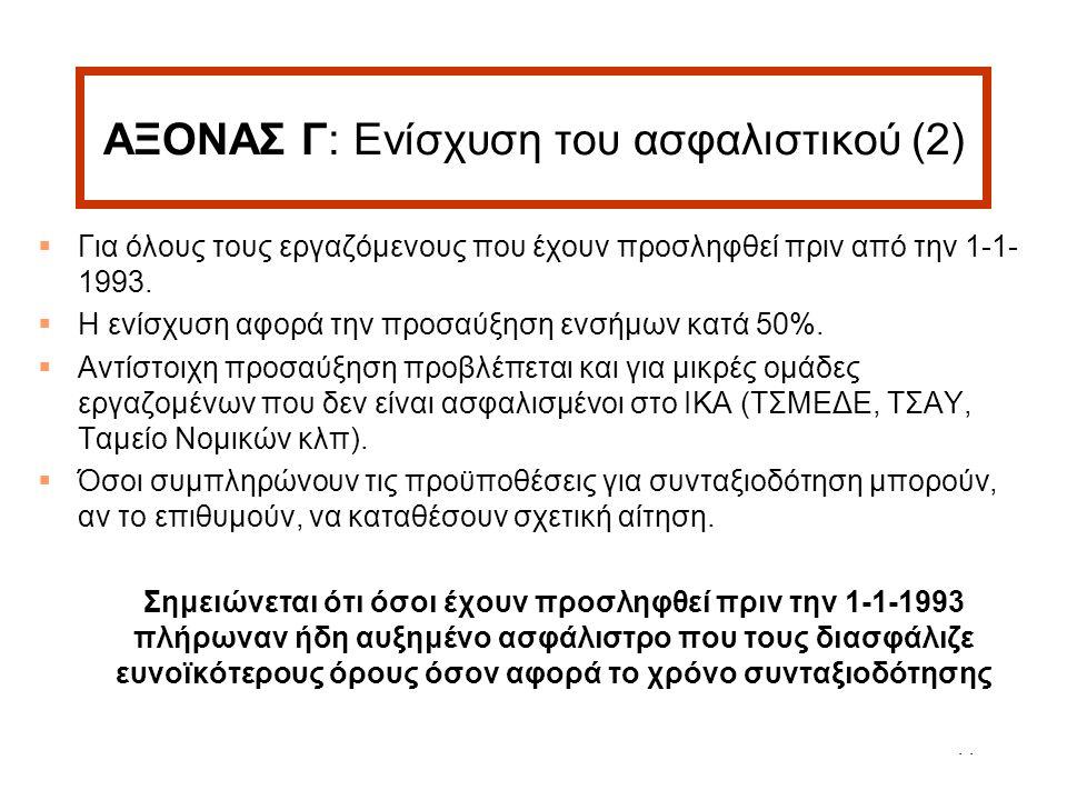 11 ΑΞΟΝΑΣ Γ: Ενίσχυση του ασφαλιστικού (2)  Για όλους τους εργαζόμενους που έχουν προσληφθεί πριν από την 1-1- 1993.