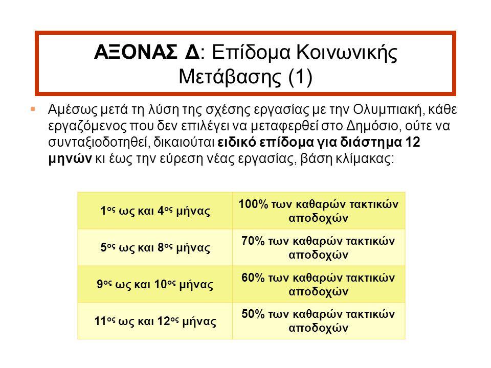 13 ΑΞΟΝΑΣ Δ: Επίδομα Κοινωνικής Μετάβασης (1)  Αμέσως μετά τη λύση της σχέσης εργασίας με την Ολυμπιακή, κάθε εργαζόμενος που δεν επιλέγει να μεταφερθεί στο Δημόσιο, ούτε να συνταξιοδοτηθεί, δικαιούται ειδικό επίδομα για διάστημα 12 μηνών κι έως την εύρεση νέας εργασίας, βάση κλίμακας: 1 ος ως και 4 ος μήνας 100% των καθαρών τακτικών αποδοχών 5 ος ως και 8 ος μήνας 70% των καθαρών τακτικών αποδοχών 9 ος ως και 10 ος μήνας 60% των καθαρών τακτικών αποδοχών 11 ος ως και 12 ος μήνας 50% των καθαρών τακτικών αποδοχών