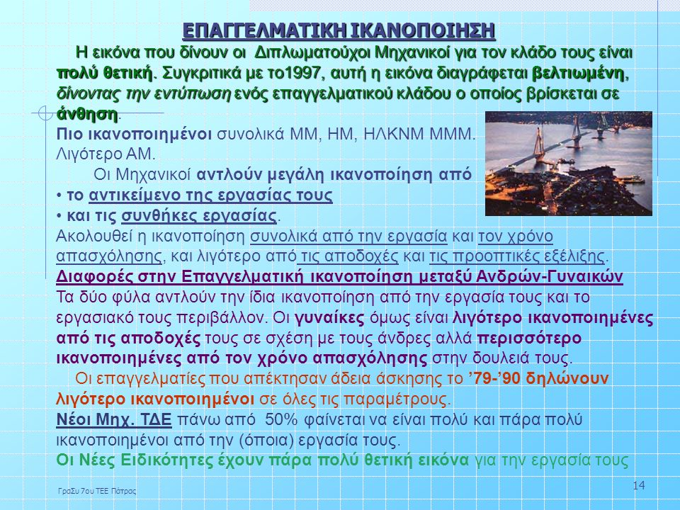 ΓραΣυ 7ου ΤΕΕ Πάτρας 14 ΕΠΑΓΓΕΛΜΑΤΙΚΗ ΙΚΑΝΟΠΟΙΗΣΗ Η εικόνα που δίνουν οι Διπλωματούχοι Μηχανικοί για τον κλάδο τους είναι πολύ θετική.