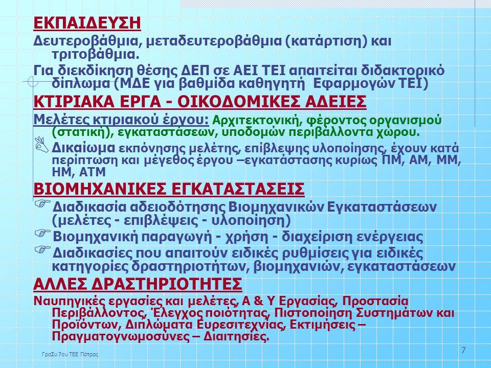 ΓραΣυ 7ου ΤΕΕ Πάτρας 7 ΕΚΠΑΙΔΕΥΣΗ Δευτεροβάθμια, μεταδευτεροβάθμια (κατάρτιση) και τριτοβάθμια.