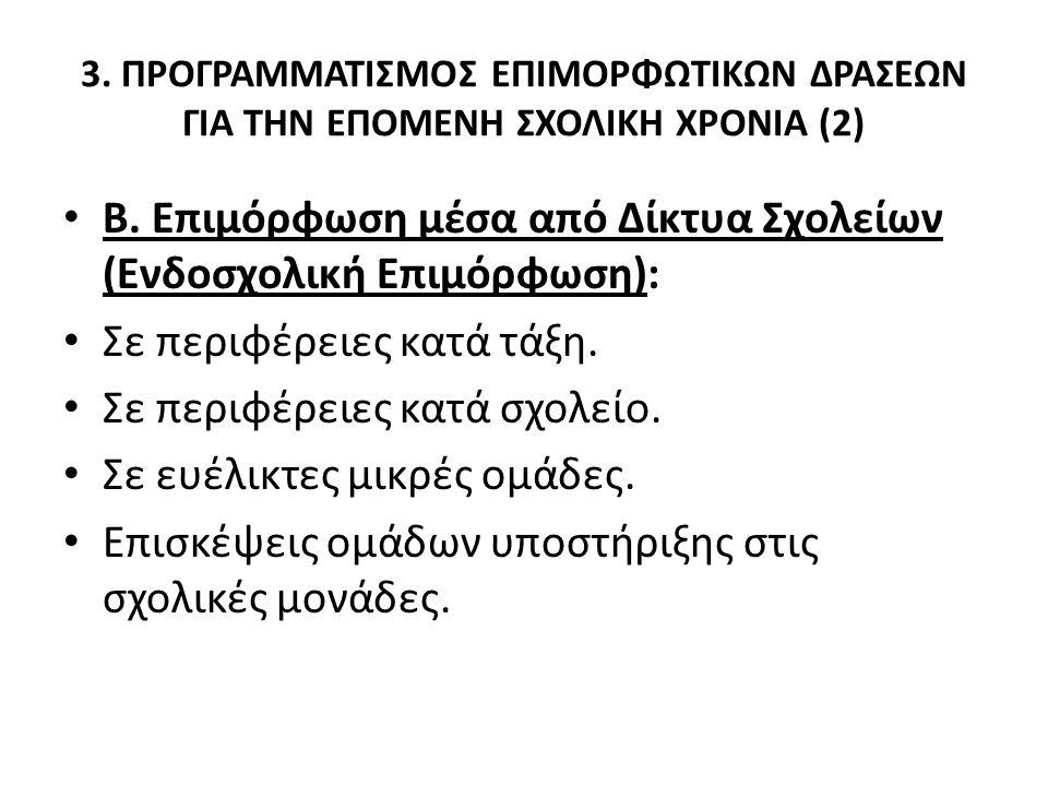 3. ΠΡΟΓΡΑΜΜΑΤΙΣΜΟΣ ΕΠΙΜΟΡΦΩΤΙΚΩΝ ΔΡΑΣΕΩΝ ΓΙΑ ΤΗΝ ΕΠΟΜΕΝΗ ΣΧΟΛΙΚΗ ΧΡΟΝΙΑ (2) Β. Επιμόρφωση μέσα από Δίκτυα Σχολείων (Ενδοσχολική Επιμόρφωση): Σε περιφέ