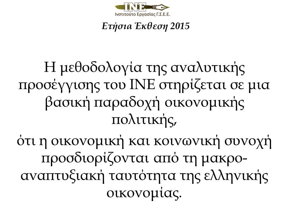 Ετήσια Έκθεση 2015 Η μεθοδολογία της αναλυτικής προσέγγισης του ΙΝΕ στηρίζεται σε μια βασική παραδοχή οικονομικής πολιτικής, ότι η οικονομική και κοινωνική συνοχή προσδιορίζονται από τη μακρο- αναπτυξιακή ταυτότητα της ελληνικής οικονομίας.