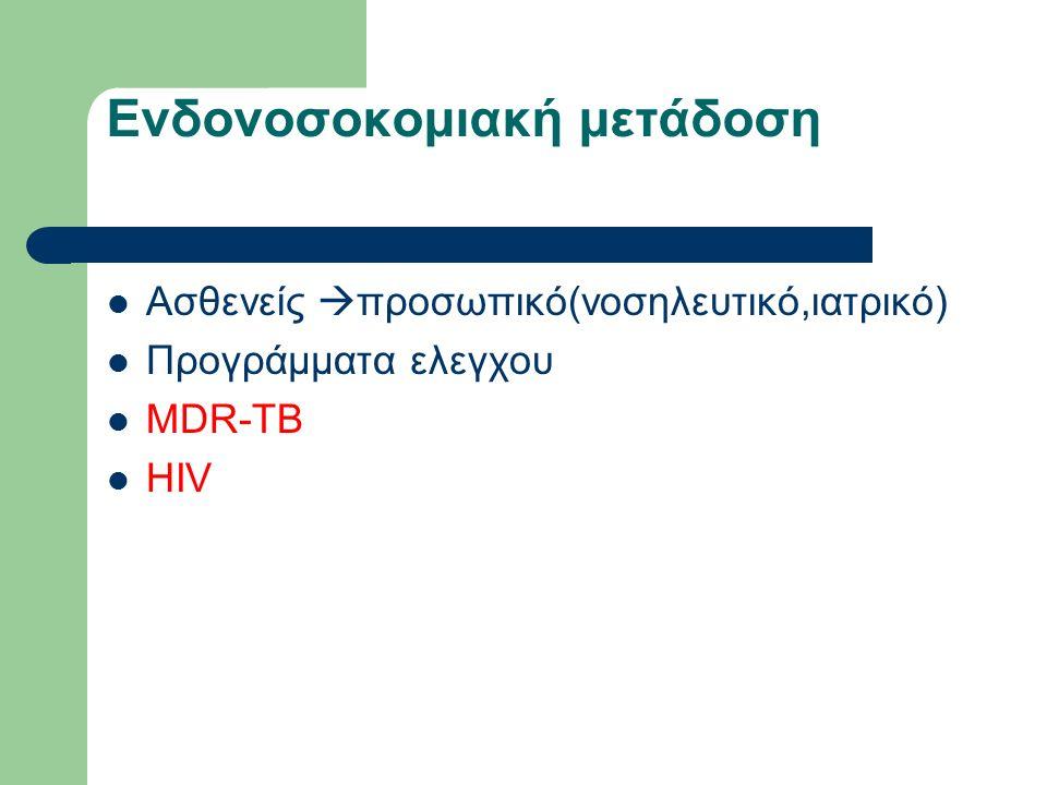Ενδονοσοκομιακή μετάδοση Ασθενείς  προσωπικό(νοσηλευτικό,ιατρικό) Προγράμματα ελεγχου MDR-TB HIV