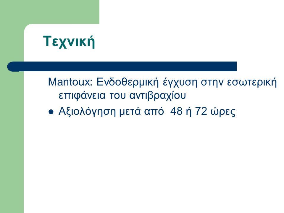 Τεχνική Mantoux: Ενδοθερμική έγχυση στην εσωτερική επιφάνεια του αντιβραχίου Αξιολόγηση μετά από 48 ή 72 ώρες